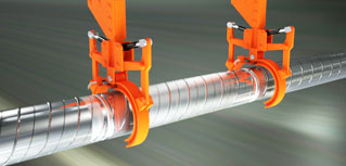Animation of a continuous Pipe Creation invention for the oil industry.