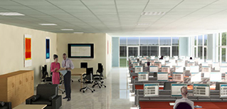 Animation of a data centre control room.