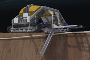 Animation of an ROV using jetting to connect a cable for an offshore windfarm.