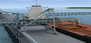 Animation of an iron ore harbour and conveyor system created for a civil engineering company